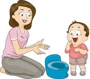Mutter mit Kind und einem Töpfchen